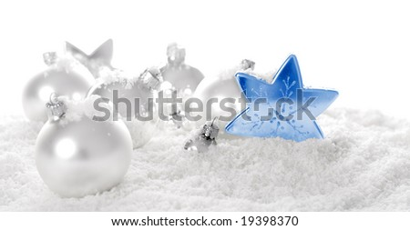 snow baubles. christmas ornaments and snow