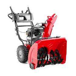 Snow Blower or Snow Thrower Isolated on White Background. Red Garden Tool Powered by Gasoline Motor Side View. Patio Cleaning Equipment. Outdoor Power Equipment