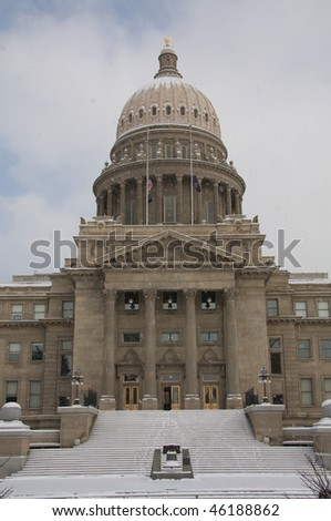 Snow capitol steps