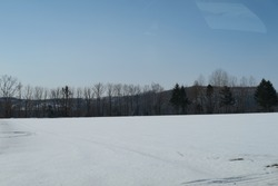 Snow capped fields in Hokkaido, Japan