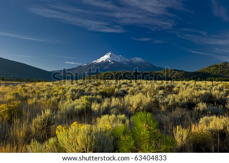 Snow capped Mount Shasta Volcano towers over the California landscape