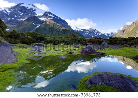 Snow capped mountain peaks are reflected in a small pool