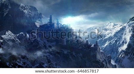 Snow-capped mountains between the castle,3d rendering.