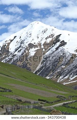 Snow-capped mountains. Mestia Georgia