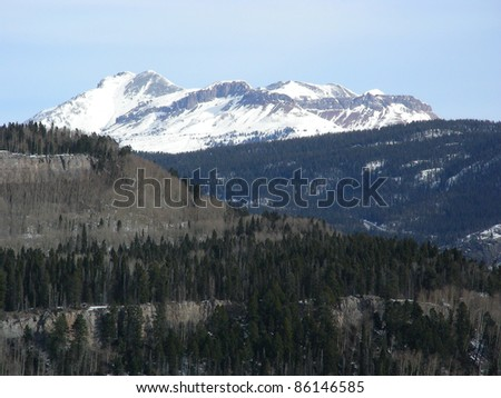 Snow capped peaks at high altitude in the Colorado Rocky Mountains