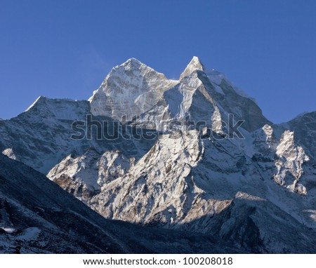 Snow-capped peaks in the area of the Mt. Everest - Nepal, Himalayas
