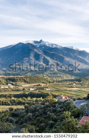Snow capped Pic du Canigou in the French Pyrenees