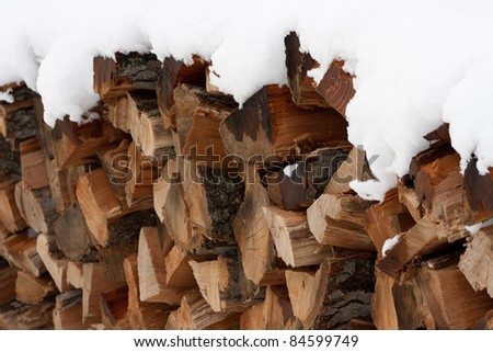 Snow-capped wood pile