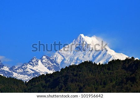 Snow covered beautiful mountain peaks against the blue sky