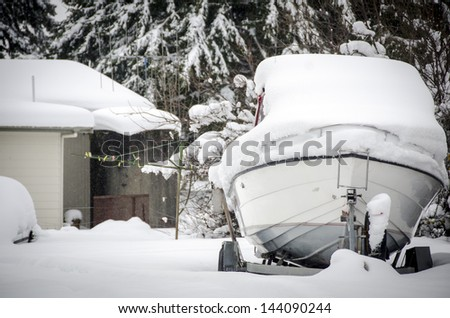 Snow covered boat
