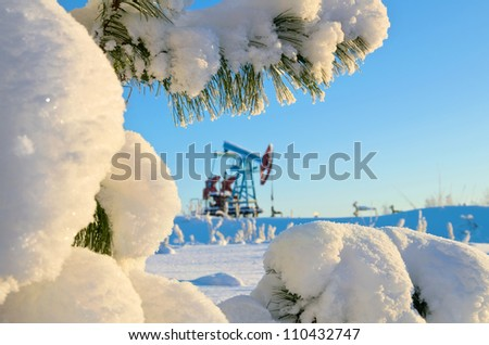 Snow-covered branch cedar oil pump in the background