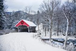 Snow covered bridge in the winter