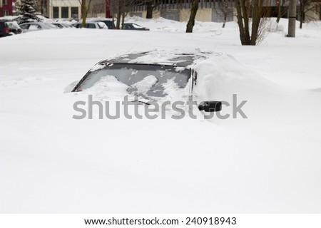snow covered car, snowy car on parking