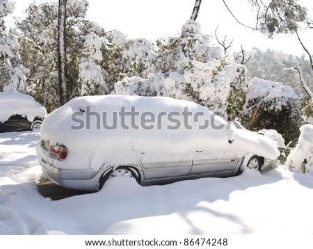 Snow covered car sorrounded by snow covered trees. It was during the big snow that took place in Barcelona on 8th march
