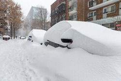 Snow covered cars parked on side of road in a Montreal neighborhood with man walking in the distance