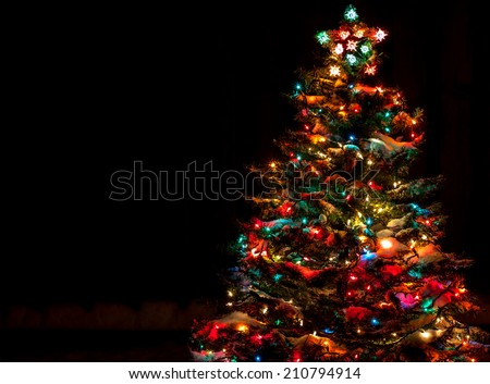 Snow Covered Christmas Tree with Multi Colored Lights at Night #210794914