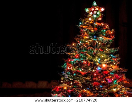 Snow Covered Christmas Tree with Multi Colored Lights at Night #210794920
