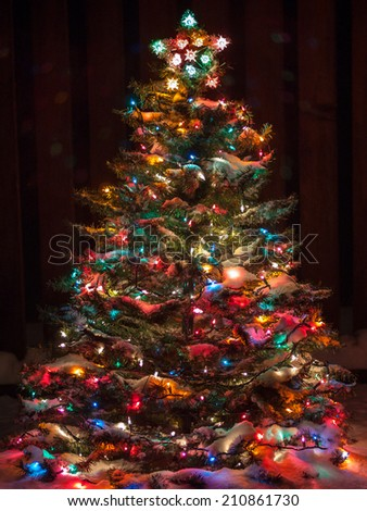 Christmas Tree Decorated With Balls With Gifts And Toys Night Lights