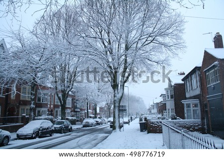Snow Covered City Path - Taken in Leicester UK Westcoats Drive #498776719
