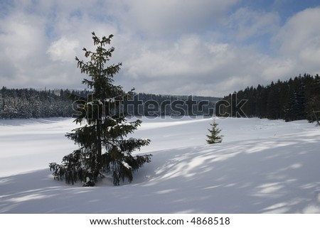 Snow covered frozen lake