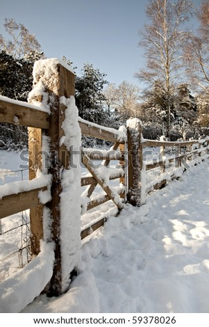Snow covered gate
