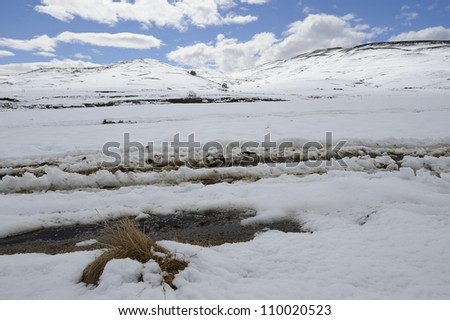 snow covered hills and fields, underberg, kwazulu natal,south africa