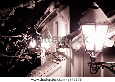 snow-covered house with ancient lanterns and tree