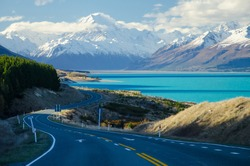 Snow covered Mount Cook with Lake Pukaki and road in the foreground from Peters Lookout, South Island, New Zealand