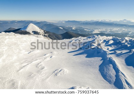 Snow covered mountains in sunny day. Colorful outdoor scene, Happy New Year celebration concept. #759037645
