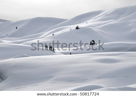 Snow-covered mountains in winter, Dolomites, South Tyrol, Alps, Italy