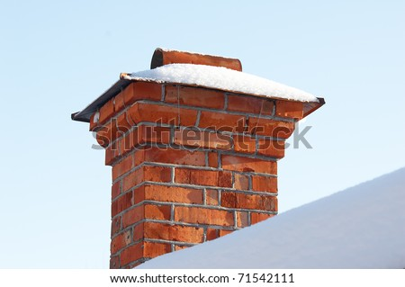 snow covered old chimney
