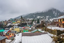Snow covered old Manali in Himachal India