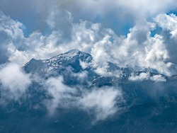 Snow covered peaks in the Parc des Ecrins in the French alps