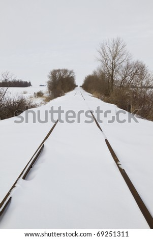 Snow covered railroad tracks.