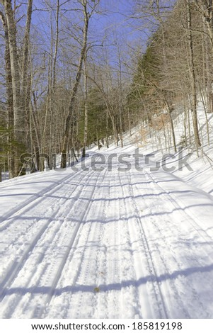 Snow covered road in the forest on cold day Stock fotó ©