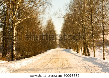 Snow-covered road to an autumn season