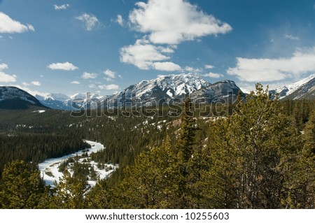 Snow covered Rocky Mountains in Banff National Park Alberta Canada