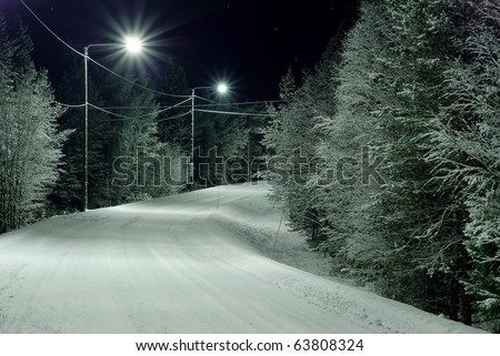Snow-covered rural road