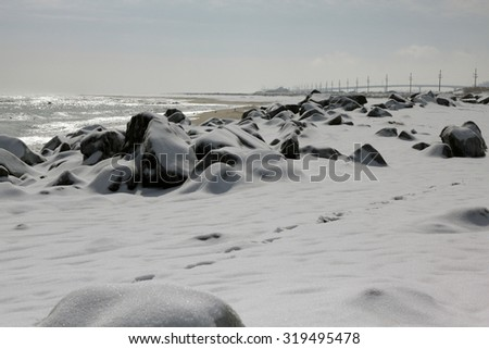 Snow covered Sandy Hook Beach. Photographed in Sandy Hook Beach in Highlands, NJ on Feb 22, 2015.
