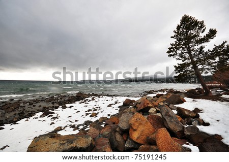 Snow-Covered Shore in Lake Tahoe City, CA