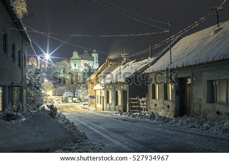 snow covered small town of...