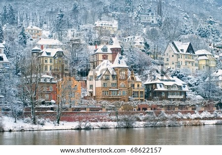 Snow covered traditional mansions in Heidelberg, Germany