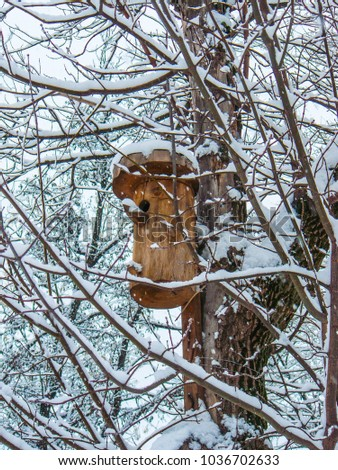 Snow-covered tree and birdhouse.  Natural background, close-up of an adult tree with a house for birds. Textured backgrounds. #1036702633