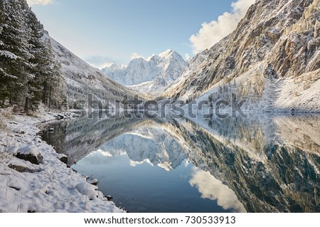 Photo of  Snow-covered winter mountain lake, Russia, Siberia, Altai mountains, Chuya ridge.