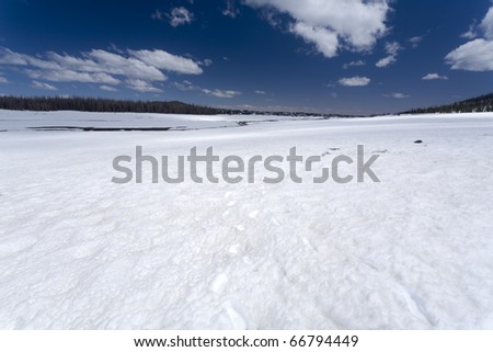Snow covering a lava field in Utah