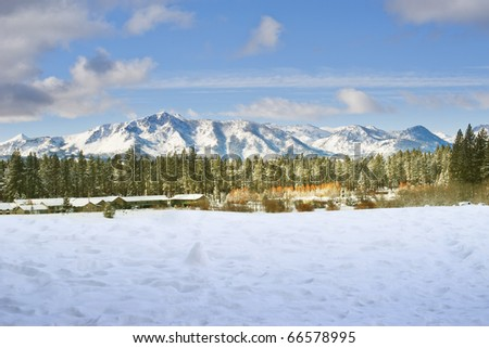 Snow covering mountain and trees in winter time at Lake Tahoe, California