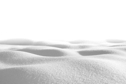 Snow drifts isolated on white background in shades of gray