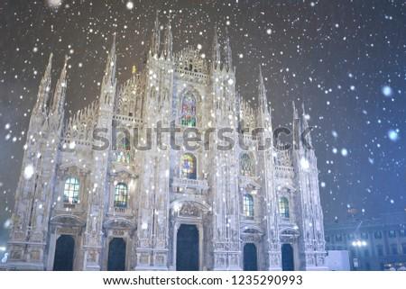 Snow falling in Milano (Italy) #1235290993