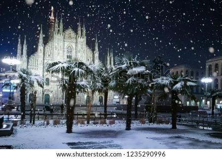 Snow falling in Milano (Italy) #1235290996