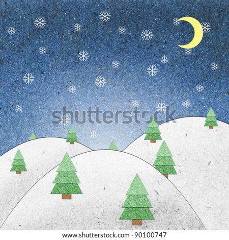 Snow field night recycle paper craft for background